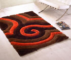 Super Soft Thick Modern 3D Shiny Shaggy Brown Orange Rug Non Shed Deep Pile Rug