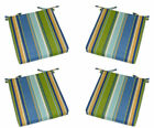 Set of 4 - Foam Cushions with Ties Blue, Yellow, Green Stripe - Choose Size