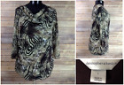 Christopher & Banks Womens L Tiger Print Top Fitted Lace Sheer Sleeves Career