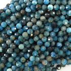 "Natural Faceted Blue Apatite Round Beads 15.5"" Strand 3mm 4mm 6mm 8mm 10mm 12mm"