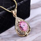 Fashion Vintage Women Pink Sapphire Crystal Silver/Gold Pendant Chain Necklaces