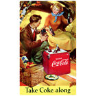 Coca-Cola Take Coke Along Picnic 1940s Wall Decal Vintage Style Coke