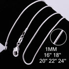 """925 Silver Filled 1mm Classic Snake Necklace Chain Bulk Price 16 - 28"""" Wholesale"""