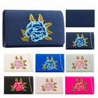 Women's New Diamante Detail Floral Embroidery Evening Satin Clutch Bag