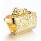 1Pcs Fashion Yacht  Gold Charm bead For 925 Silver bracelet/nacklace
