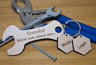 PERSONALISED FATHERS DAY GIFT BIRTHDAY KEYRING SPANNER DADDY DAD GRANDAD