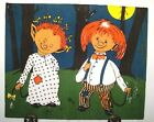 vtg mounted Tapestry of 2 elf mice type orange haired child creatures European ?