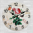 Rose Flowers Butterfly Retro Wall Clock Home Kitchen Bar Decor Gift