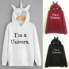 Women Unicorn Horn Hooded Hoodie Long Sleeve Pullover Sweatshirt Coat Tracksuit