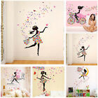 Magic Pink Dress Maid Fairy Flower Heart-Shaped Wall Sticker Home Bedroom Decor