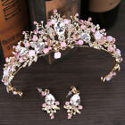 5.5cm High Crystal Tiara Earrings Set Wedding Party Pageant Prom Crown 2 Colors