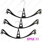 39CM PLASTIC BLACK CURVED CLIP HANGERS FOR GARMENTS SKIRTS LEGGINGS TROUSERS