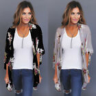 US STOCK New Women Floral Loose Kimono Cardigan Boho Chiffon Coat Jacket Blouse