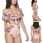 Women Sexy One Piece Swimsuit Off Shoulder Ruffled Floral Bathing Suit N98B