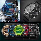 Stainless Steel LED Digital Date Alarm Waterproof Sport Army Quartz Men Watch SA