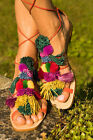 ZARA 2016 POMPOM LEATHER FLAT SANDALS 4 5 37 38 MUST HAVE SOLD OUT EVERYWHERE
