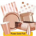 ROSE GOLD FOIL Party Tableware Disposable Birthday Supplies Event Decorations 1C