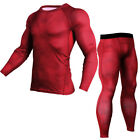 Men Sports Apparel Tights Compression Workout Under Layer Base Long Pant T-shirt