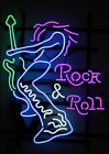 Neon Signs Gift Rock & Roll Guita Beer Bar Pub Store Party Room Wall Decor 17x14