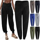 NEW WOMENS LADIES HAREM LOOK TROUSERS STRETCH WAIST LOOSE LOUNGE TRAVEL PANTS