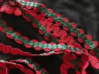 2 tone Red- Pine Green Braided Gimp trim Sewing Rick Rack Gimp Cord
