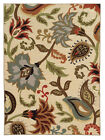 Ivory Transitional Machine Made Flowers Vines Scrolls Area Rug Floral 15927