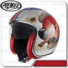 Casco Vintage Pin Up Old Style Silver Premier Jet con visiera