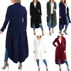 New Long Sleeve Plain Belted High Low Ladies Long Cardigan S-XL