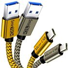 (2 Pack) USB Nylon Braided Cord Cable Charger for Samsung Galaxy (Silver + Gold)