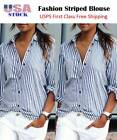 affordable plus size clothes -  Women's Striped Plus Size Long Sleeve Casual Tops Loose Blouse Clothes T-Shirt