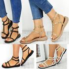 New Womens Ladies Flat Gladiator Sandals Strappy Biker Goth Punk Shoes Size