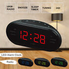 Digital LED Display Alarm Clock FM/AM Radio 24 Hours Snooze Desktop Timer Black