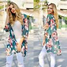 Women Casual 3/4 Sleeve Print Cardigan Loose Beach Cover Up N98B