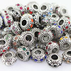 10Pcs Czech Crystal Tibetan Silver Big Hole Spacer European Charm Beads 10mm