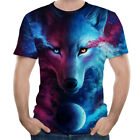 Unisex Men Space Wolf 3D Print T-Shirt Short Sleeve Multi-Colour Shirt Tank Tops