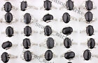 wholesale Lots Mixed 50X Black Natural Gemstone Silver P Rings Fashion Jwelry AA