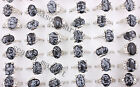 wholesale Mixed 50X Black Natural Gemstone Silver P Rings Fashion Jwelry 17-20MM