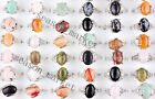wholesale Lot Mixed 30Pcs Natural Gemstone Silver P Rings Fashion Jwelry 17-20MM