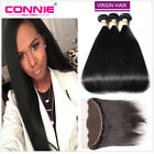 Peruvian Human Hair Straight 3 Bundles With 13x4 Ear to Ear Lace Frontal Closure