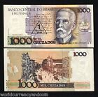 BRAZIL 1 on 1000 CRUZADOS P216 1989 RIO STREET UNC CURRENCY MONEY BILL BANKNOTE