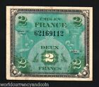 FRANCE 2 FRANCS 1944 WWII EURO ALLIED MILITARY PAYMENT AUNC WORLD WAR II SCARCE