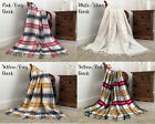 Faux Wool Throw / Blanket Tartan Check Fringed Edge Lightweight 380gsm 150 x 200