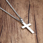 Mens Women Chain Necklace Black Cross Stainless Steel Pendant Crucifix Jesus UK