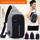 Men Anti-Snitching Backpack USB Charging Port Travel Sling Bag Crossbody Chest Pack