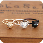 Women Fashion Mini Lovely Cute Cat kitten Shape Ring Rhinestone Studd Jewelry