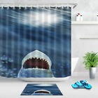 Ocean Great White Shark Wide Open Mouth Shower Curtain Set Waterpoof Fabric Hook