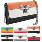 New Queen Bee Embellishment Faux Leather Ladies Mini Clutch Bag Purse
