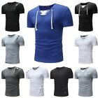 US Three Type Summer New Casual Fashion Men's Solid Color Short-sleeved T-shirt