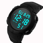 Fashion Men Boys Sport LCD Digital Stopwatch Date Rubber Wrist Watch image