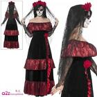 Day of the Dead Bride Costume Womens Ladies Mexican Halloween Fancy Dress Outfit
